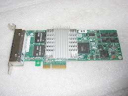 Hewlett-Packard (HP) NC364T Quad Port (4 channel) 10/100/1000Base-T Gigabit Ethernet NIC card (network server adapter), PCI-E (PCI Express), p/n: 435506-003, 436431-001, OEM (сетевой адаптер)