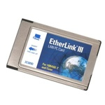 3Com Etherlink III LAN PC card (network ethernet adapter) 3C589D, 10BASE-T and coax, no cord, OEM (сетевой адаптер)